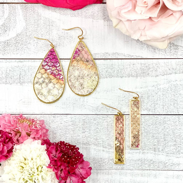Teardrop Earrings Python - Bountiful Blush on Silver