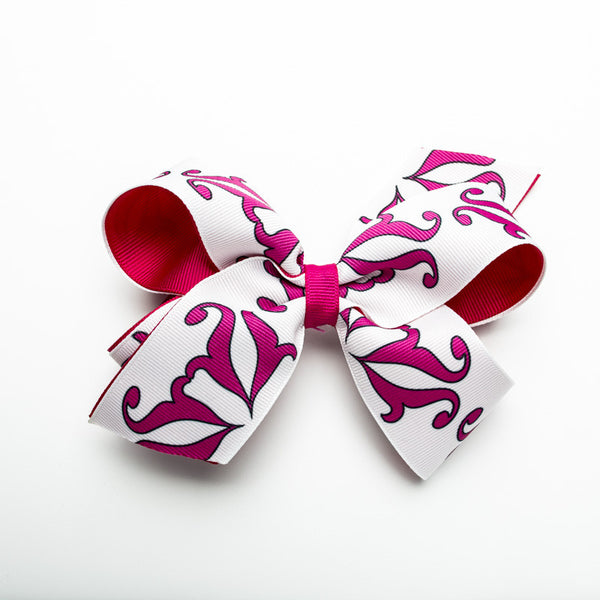 Half RC Logo Hair Bow – Hot Pink and White