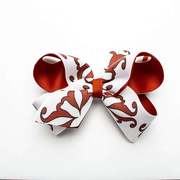 Half RC Logo Hair Bow – Red and White