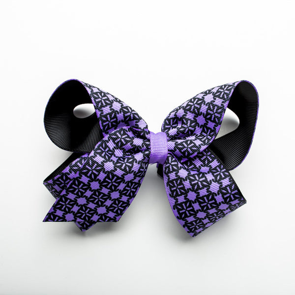 Multiple RC Logos Hair Bow – Lavender and Black