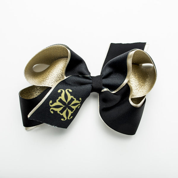 Single RC Logo on Tail of Hair Bow – Gold and Black