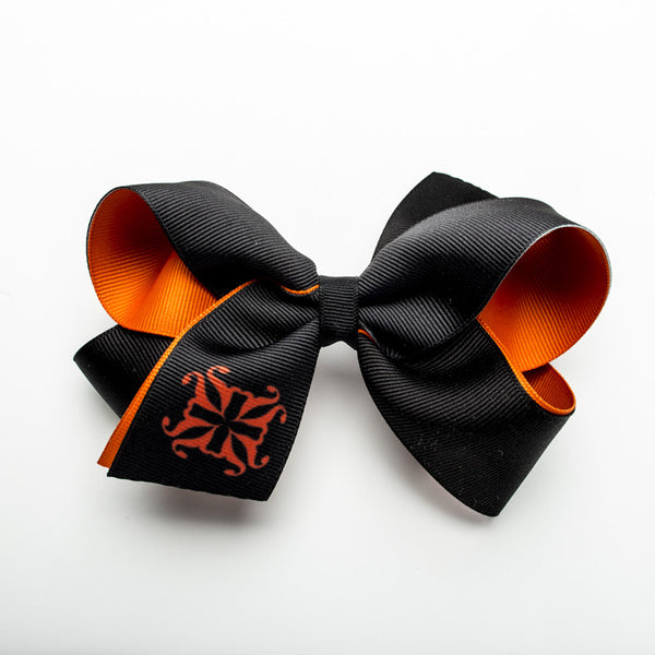 Single RC Logo on Tail of Hair Bow – Orange and Black