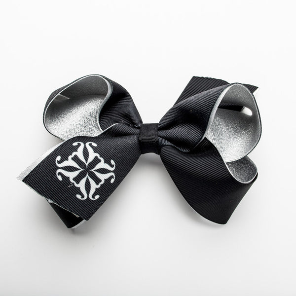 Single RC Logo on Tail of Hair Bow – Silver and Black