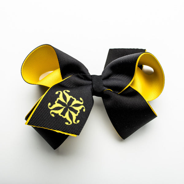 Single RC Logo on Tail of Hair Bow – Yellow and Black