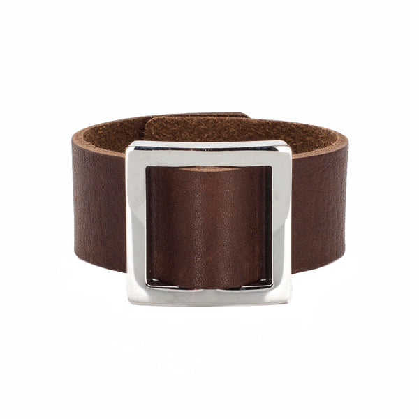 Square Buckle Leather Snap Cuff Brown - Silver