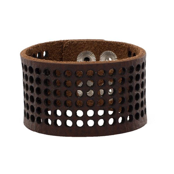 Dottie 1.5 Leather Snap Cuff - Brown