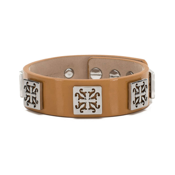 Meagen Wide Patent - Camel with Silver Square
