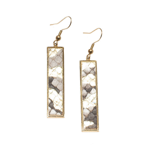 Vertical Rectangle Earrings Python - Cerulean Nights on Gold
