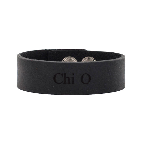 "Leather Snap Cuff .75 - Chi Omega ""Chi O"""