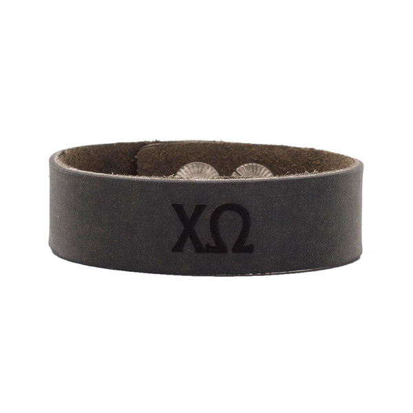 Leather Snap Cuff .75 - Chi Omega Greek Letters