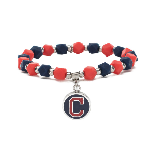 MLB Hexagon Beaded - Cleveland Indians on Silver