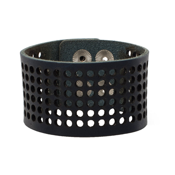 Dottie 1.5 Leather Snap Cuff - Cobalt