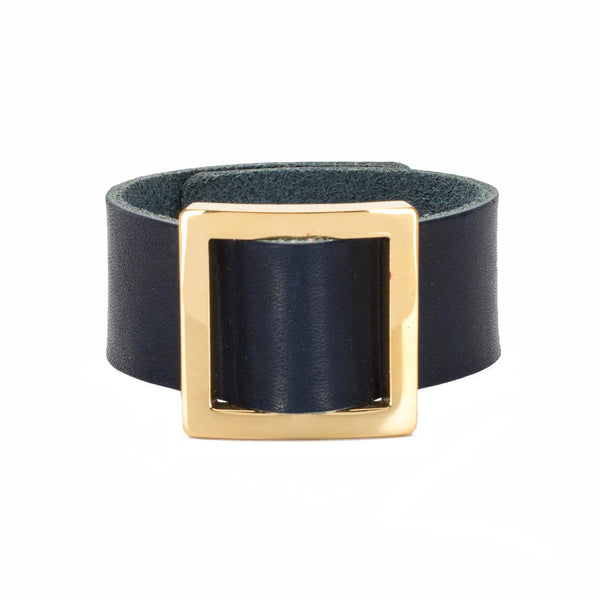 Square Buckle Leather Snap Cuff Cobalt - Gold