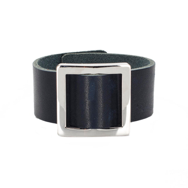Square Buckle Leather Snap Cuff Cobalt - Silver