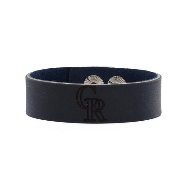 MLB Leather Snap Cuff .75 Engraved - Colorado Rockies