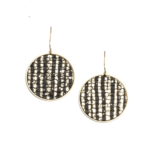 Python Round Earrings - Constellation on Gold