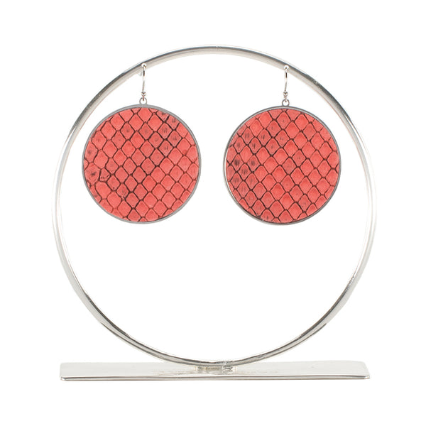 Python Round Earrings - Coral on Silver