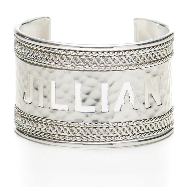 "Braided 1.5"" Cut Out Name - Silver"