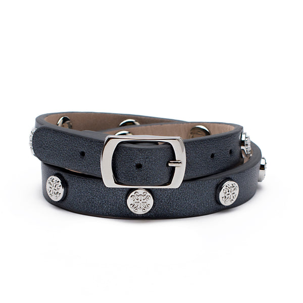 Macy Double Wrap Metallic Black with Silver - Circle Logos