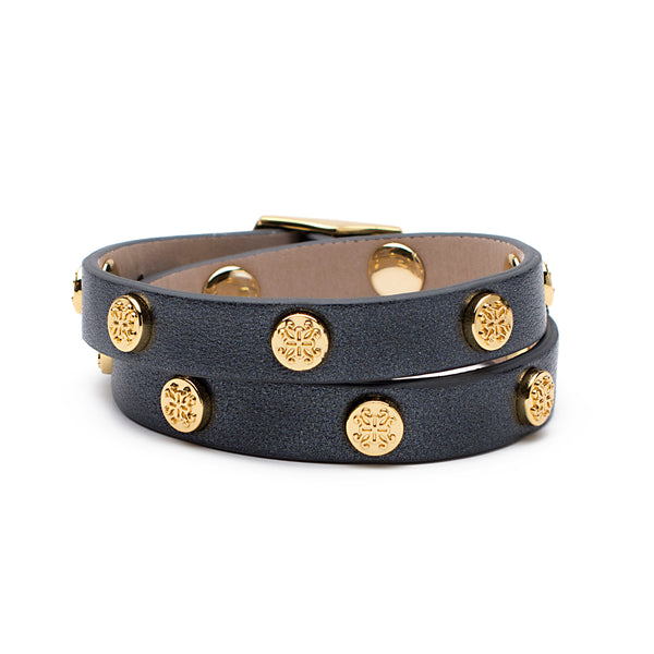 Macy Double Wrap Metallic Black with Gold - Circle Logos