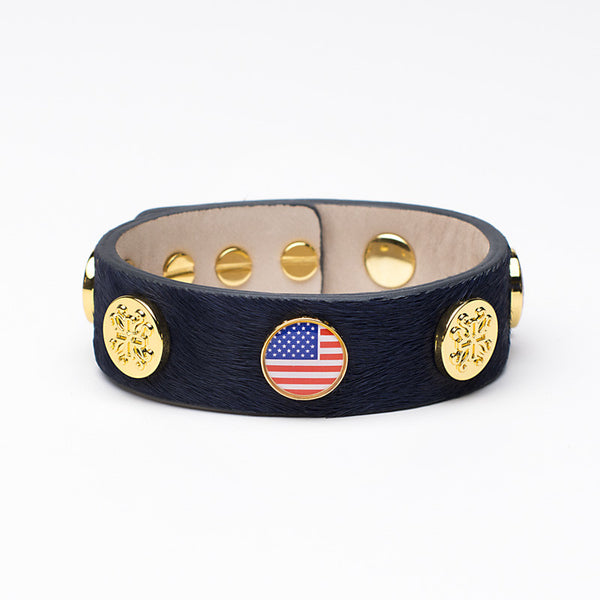 Meagen Wide Calfskin Patriotic - Navy with Gold