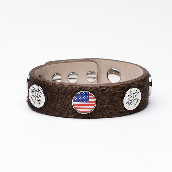 Meagen Wide Calfskin Patriotic - Brown with Silver