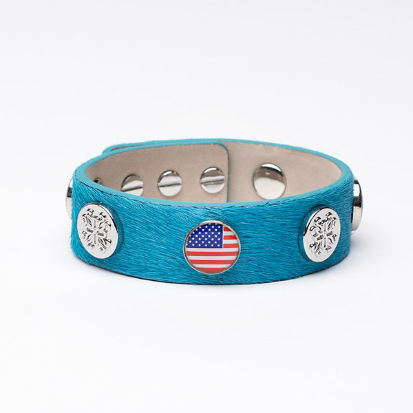 Meagen Wide Calfskin Patriotic - Turquoise with Silver