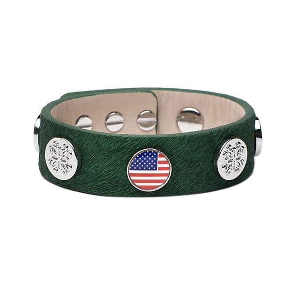 Meagen Wide Calfskin Patriotic - Green with Silver