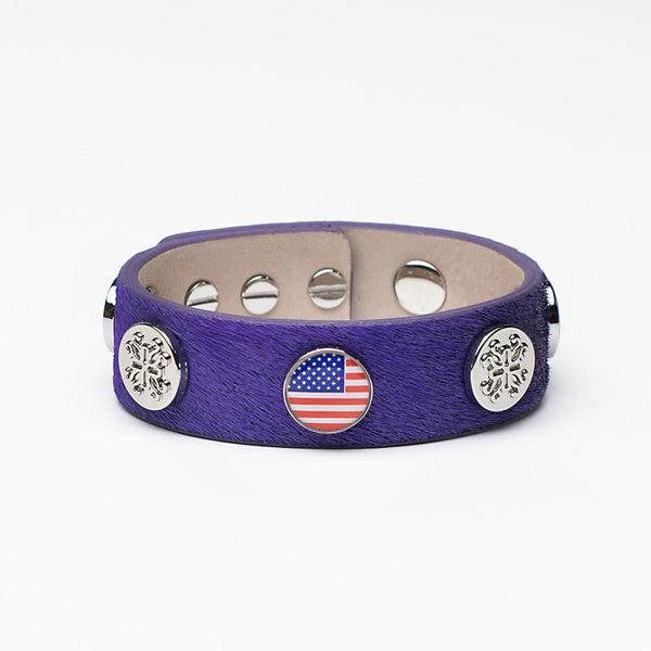 Meagen Wide Calfskin Patriotic - Purple with Silver