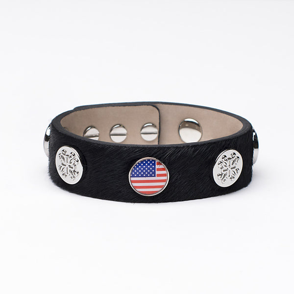 Meagen Wide Calfskin Patriotic - Black with Silver