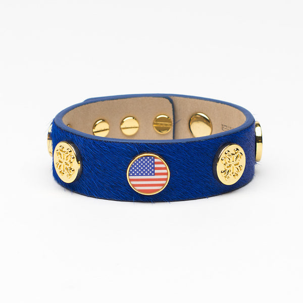 Meagen Wide Calfskin Patriotic - Blue with Gold