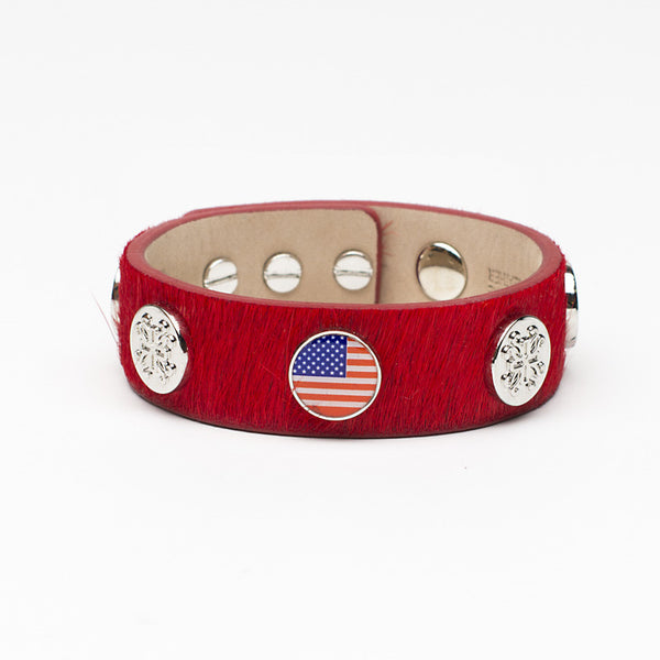 Meagen Wide Calfskin Patriotic - Red with Silver