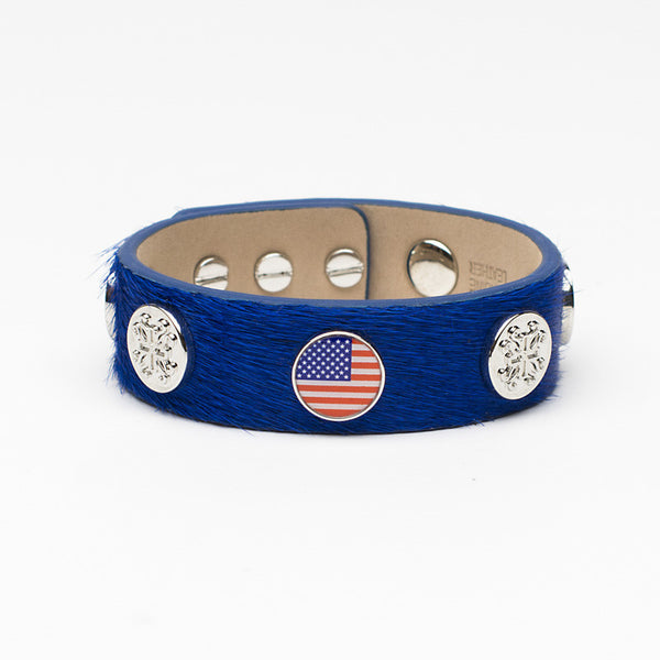 Meagen Wide Calfskin Patriotic - Blue with Silver