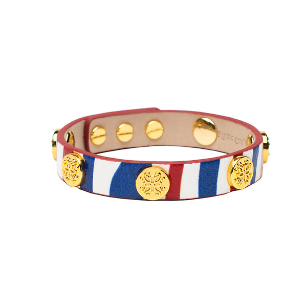 Meagen Single Wrap Patriotic Red White Amp Blue With Gold Rustic Cuff