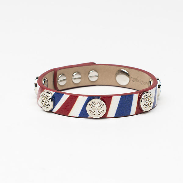 Meagen Single Wrap Patriotic - Red, White & Blue with Silver