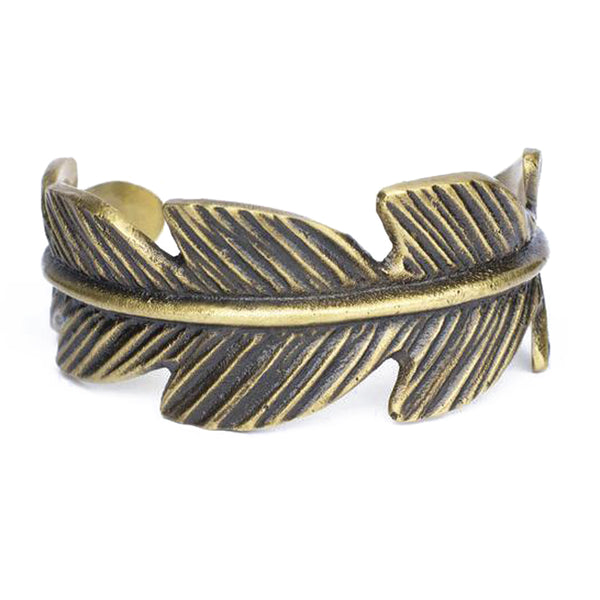 Casted Feather Cuff - Gold