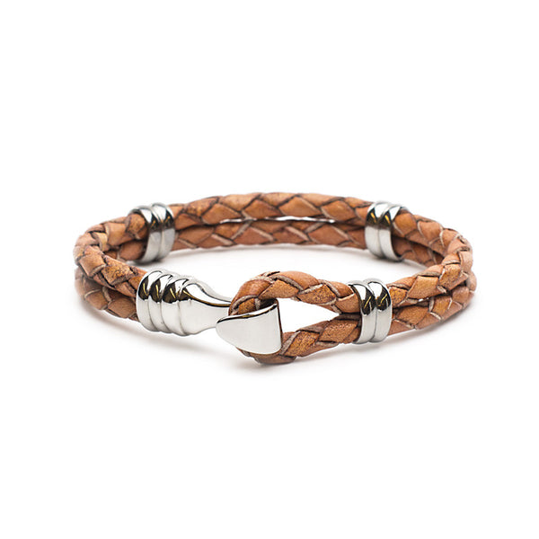 RC Men's Jake - Braided Leather Brown with Silver