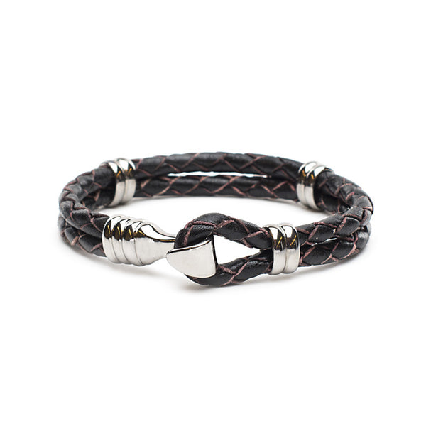RC Men's Jake - Braided Leather Black with Silver