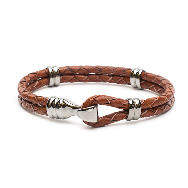 RC Men's Jake - Braided Leather Dark Brown with Silver