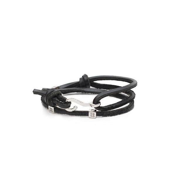 RC Boys Jeffrey - Leather Double Wrap Black with Silver