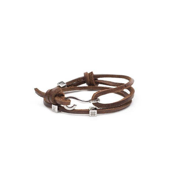 RC Boys Jeffrey - Leather Double Wrap Brown with Silver