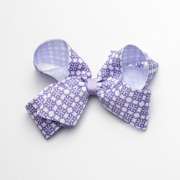 Multiple RC Logos Hair Bow – Purple and White