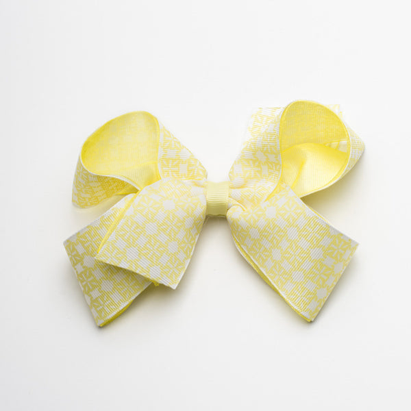 Multiple RC Logos Hair Bow – Yellow and White