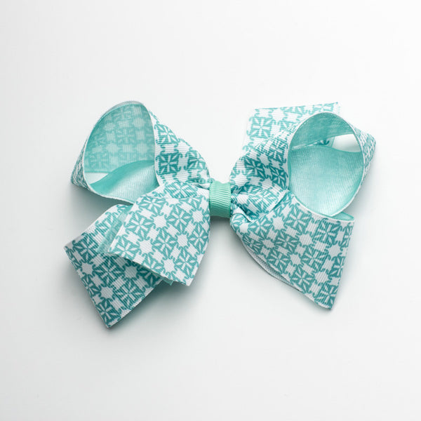 Multiple RC Logos Hair Bow - Turquoise and White