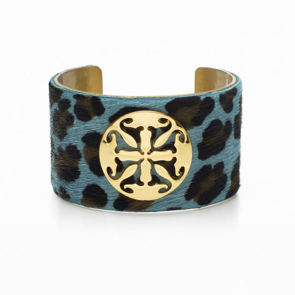 "Calfskin Dusty Blue Leopard 1.5"" Gold with Gold Logo"