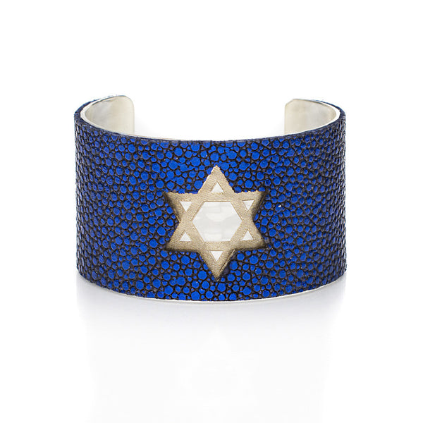 1.5 Custom Engraved with Stingray Overlay on Flat Gold or Silver Cuff - Star of David