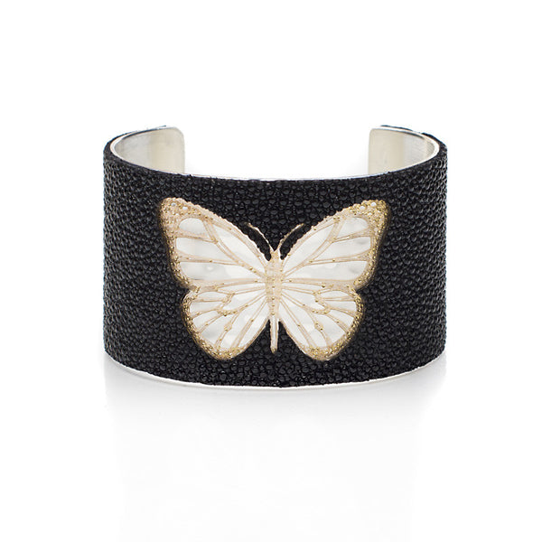 1.5 Custom Engraved with Stingray Overlay on Flat Gold or Silver Cuff - Butterfly