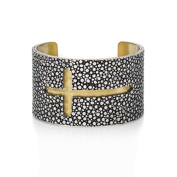 1.5 Custom Engraved with Stingray Overlay on Flat Gold or Silver Cuff - Sideways Cross
