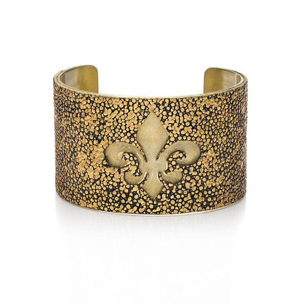 1.5 Custom Engraved with Stingray Overlay on Flat Gold or Silver Cuff - Fleur De Lis