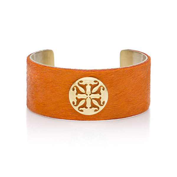 "Calfskin Orange 1.0"" Gold with Gold Logo"